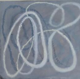 """Ildiko Kovacs 2002 """"Thread 1"""" oil on canvas 290mm x 310mm"""