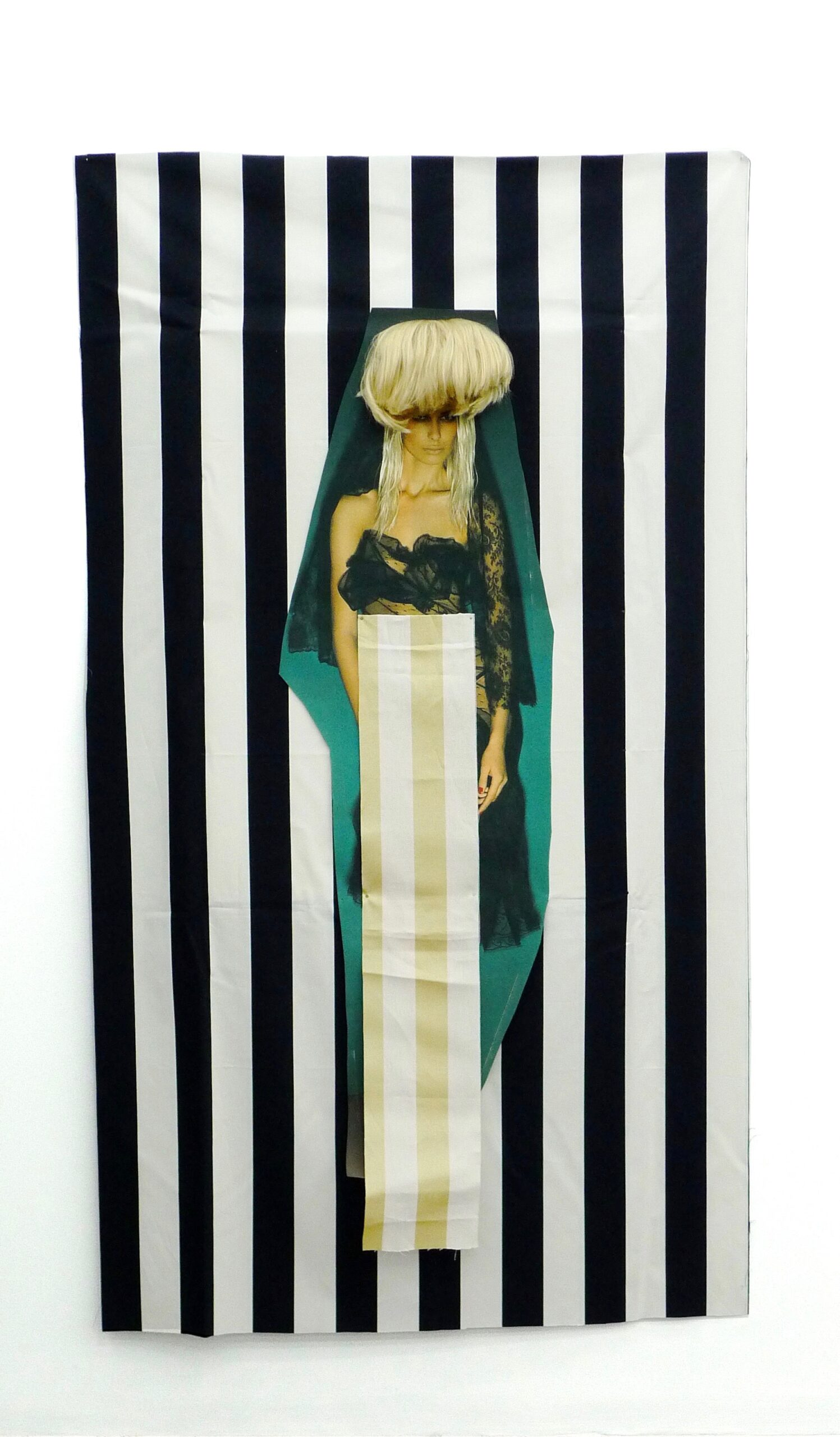 """Jacqueline Fraser 2013 """"Looking at Commes de garcons Looking at Daniel Buren at the Guggenheim NYC"""" fabric, duratran prints and wig 2170mm x 1200mm"""